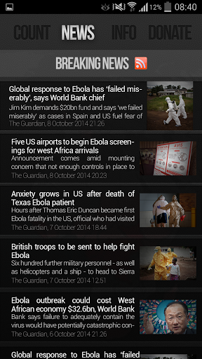 Ebola Outbreak News amp Donation 1.2.3 screenshots 2