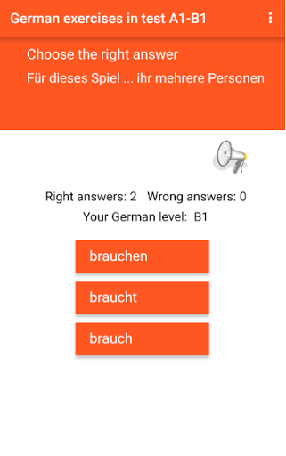 German exercise in test A1-B1 Grammar training 1.4 screenshots 1