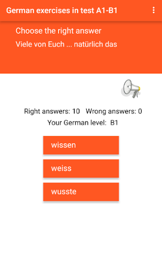 German exercise in test A1-B1 Grammar training 1.4 screenshots 8