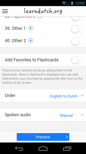 learndutch.org – Flashcards screenshots 2