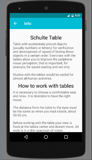 Schulte table screenshots 2