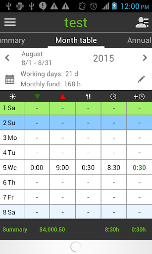 Working Timer – Timesheet screenshots 2