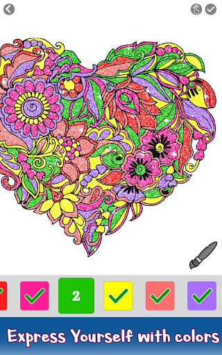 Valentine Love Glitter Color by Number Book Pages 3.0 screenshots 2