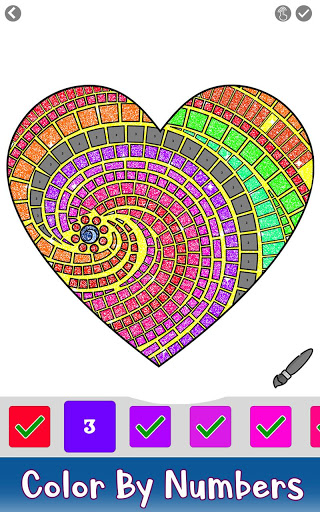 Valentine Love Glitter Color by Number Book Pages 3.0 screenshots 3
