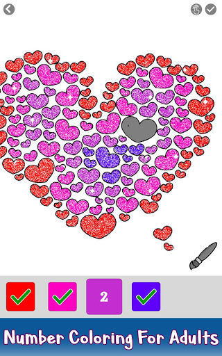Valentine Love Glitter Color by Number Book Pages 3.0 screenshots 4