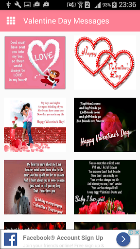 Valentine day MessagesImages Greeting Card Quotes 1.0 screenshots 1